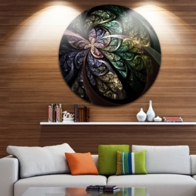 Designart Brown Blue Fractal Flower Digital Art Floral Metal Circle Wall Art