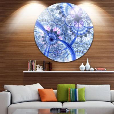 Designart Bright Blue Fractal Floral Pattern Floral Metal Circle Wall Art