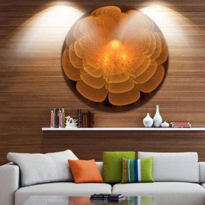Designart Water Lily Digital Art Fractal Flower Floral Metal Circle Wall Art