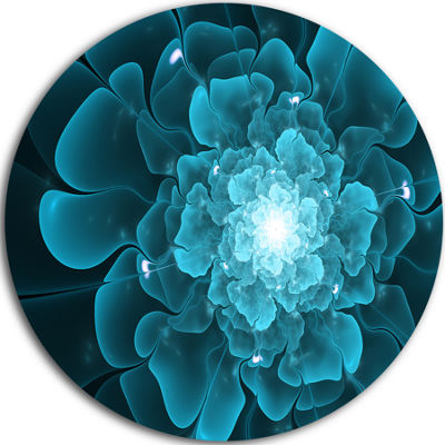 Designart Fractal Flower Clear Blue Digital Art Floral Metal Circle Wall Art
