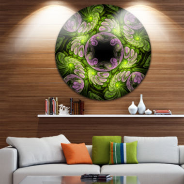 Designart Green and Purple Large Fractal Flower Floral Metal Circle Wall Art