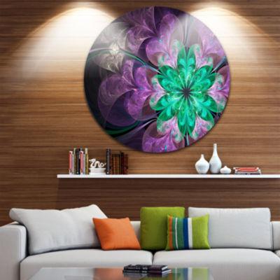 Designart Glittering Purple Green Fractal Flower Floral Metal Circle Wall Art