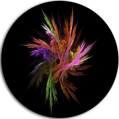 Designart Excitingly Colorful Fractal Flower Floral Metal Circle Wall Art