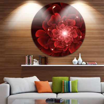 Designart Fractal Flower Clear Red Digital Art Floral Metal Circle Wall Art