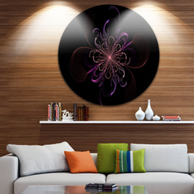 Designart Pink Rounded Fractal Flower in Black Floral Metal Circle Wall Art