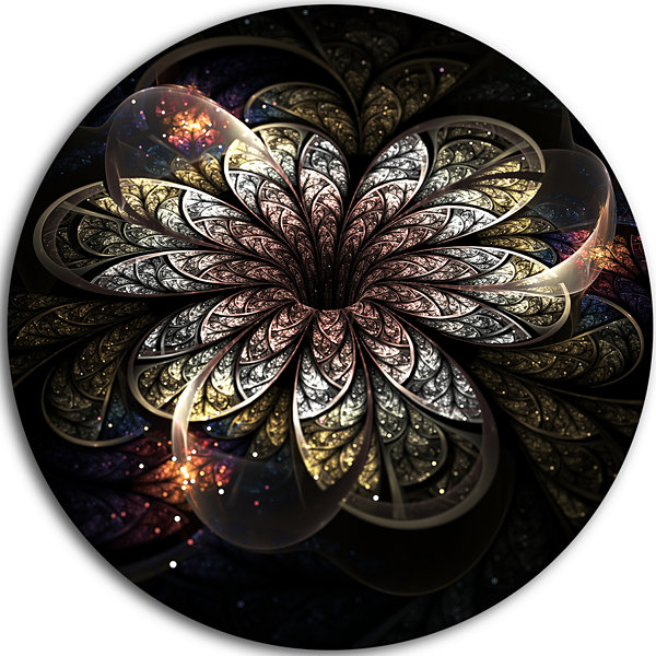 Designart Rounded Glowing Golden Fractal Flower Floral Metal Circle Wall Art
