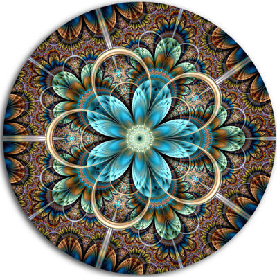 Designart Large Brown Blue Fractal Flower Floral Metal Circle Wall Art