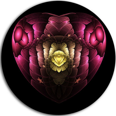 Designart Isolated Heart Digital Art Fractal Flower Floral Metal Circle Wall Art