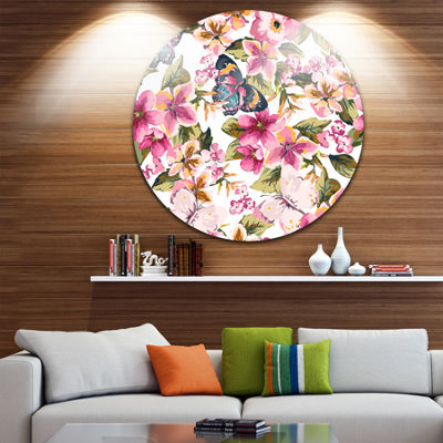 Designart Butterflies with Seamless Floral PatternFloral Metal Circle Wall Art