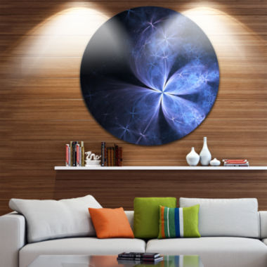 Designart Glittering Soft Blue Fractal Flower Floral Metal Circle Wall Art