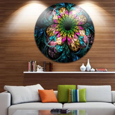 Designart Fractal Flower Dark Colorful Digital ArtFloral Metal Circle Wall Art