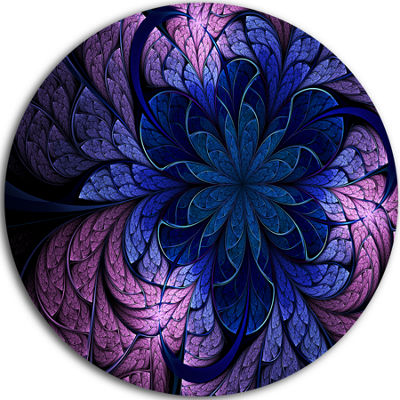 Designart Blue Purple Digital Art Fractal Flower Floral Metal Circle Wall Art