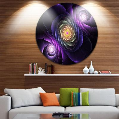 Designart Fractal Purple Flowers Digital Art LargeFlower Metal Circle Wall Art