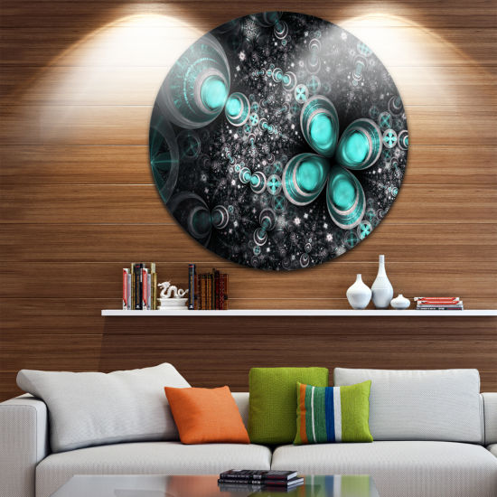 Designart Glittering Dark Green Fractal Flower Floral Metal Circle Wall Art