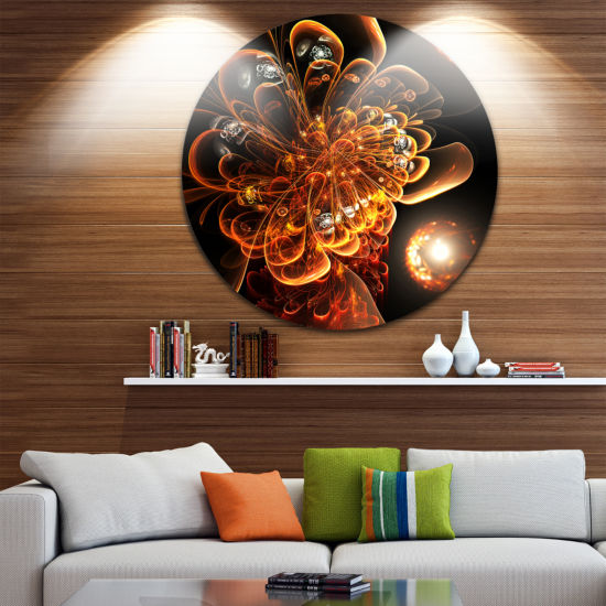 Designart Dark Orange Fractal Flower Digital Art Floral Metal Circle Wall Art