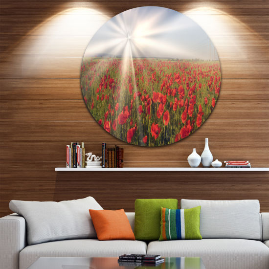 Designart Blooming Wild Poppies under Sun Floral Metal Circle Wall Art