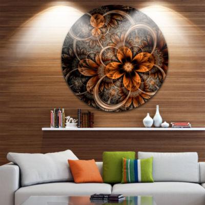 Designart Dark Orange Digital Art Fractal Flower Floral Metal Circle Wall Art