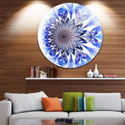 Designart Light Blue Fractal Flower Digital Art Floral Metal Circle Wall Art