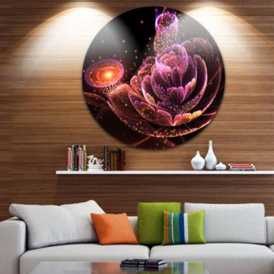 Designart Fractal Flower Illuminated Purple Art Floral Metal Circle Wall Art