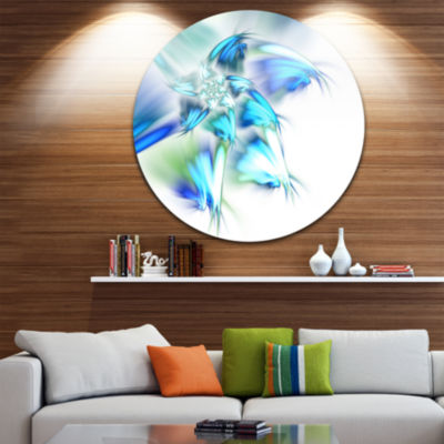Designart Blue and Green Fractal Flower Floral Metal Circle Wall Art