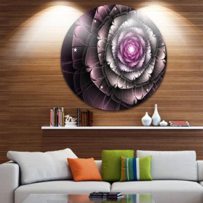 Designart Fractal Flower Glossy Pink Digital Art Floral Metal Circle Wall Art