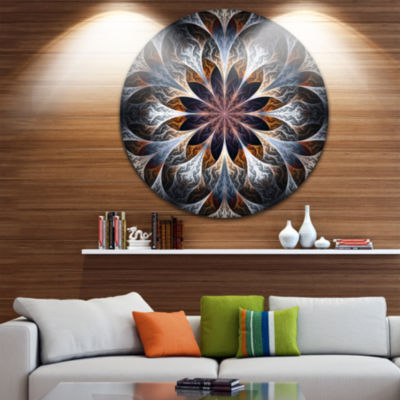 Designart Gray Brown Digital Art Fractal Flower Floral Metal Circle Wall Art