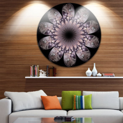 Designart Dark Pink Digital Art Fractal Flower Floral Metal Circle Wall Art