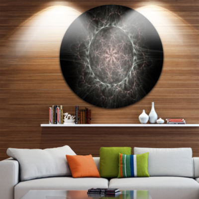 Designart Rounded Silver Glowing Fractal Flower Floral Metal Circle Wall Art