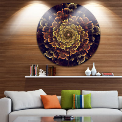 Designart Perfect Fractal Flower in Brown and GoldFloral Metal Circle Wall Art