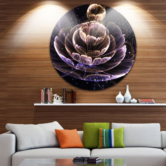 Designart Purple Ideal Fractal Flower with PollenFloral Metal Circle Wall Art