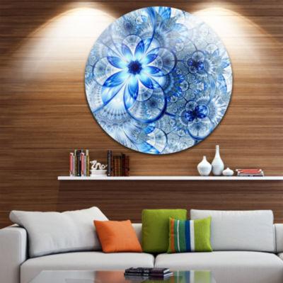 Designart Dark Blue Flower Pattern Design Floral Metal Circle Wall Art
