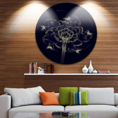 Designart Dark Yellow Digital Art Fractal Flower Floral Metal Circle Wall Art