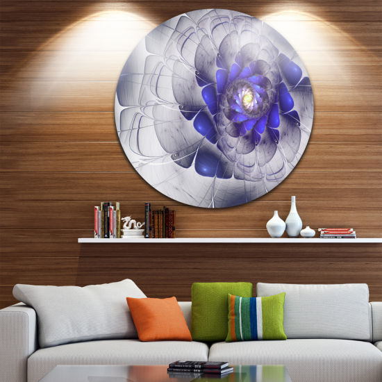 Designart Fractal Flower Grey Blue Digital Art Floral Metal Circle Wall Art