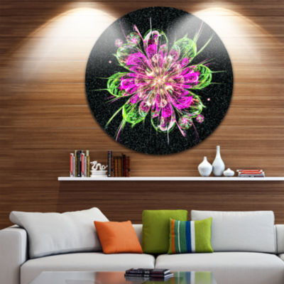 Designart Perfect Fractal Flower in Purple and Green Floral Metal Circle Wall Art