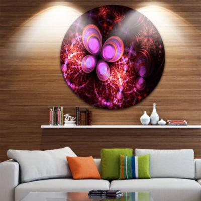 Designart Glowing Purple Pink Fractal Flower Floral Metal Circle Wall Art