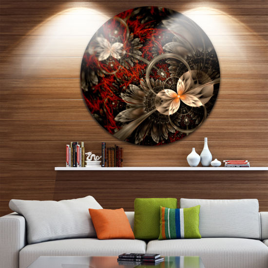 Designart Red and Orange Fractal Flower Pattern Floral Metal Circle Wall Art