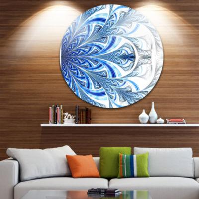 Designart Fractal Flower in Soft Blue Digital ArtFloral Metal Circle Wall Art