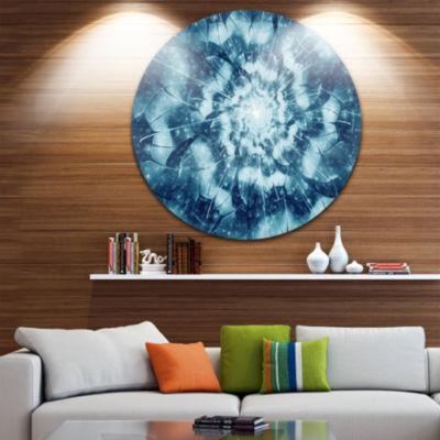 Designart Blue Snowy Fractal Flower Design FloralMetal Circle Wall Art