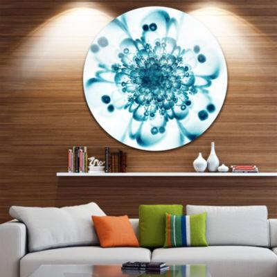 Designart Typical Blue Snowy Fractal Flower FloralMetal Circle Wall Art