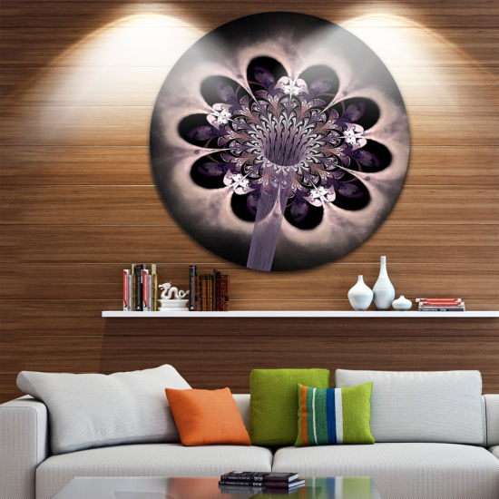 Designart Bright Yellow Digital Art Fractal FlowerFloral Metal Circle Wall Art