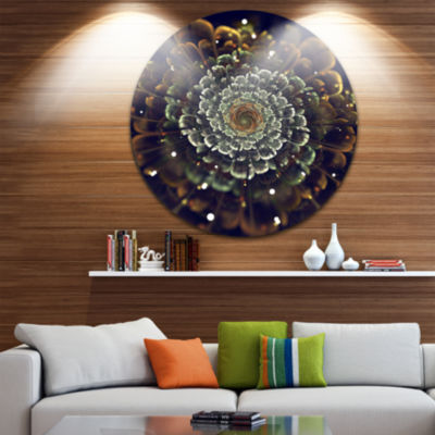 Designart Perfect Fractal Flower in Orange and Silver Floral Metal Circle Wall Art