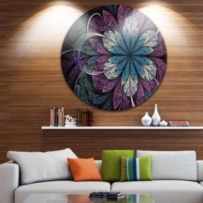 Designart Purple Blue Rounded Fractal Flower Floral Metal Circle Wall Art