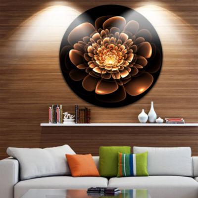 Designart Glittering Brown Yellow Fractal Flower Floral Metal Circle Wall Art