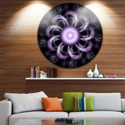 Designart Rounded Light Purple Fractal Flower Floral Metal Circle Wall Art