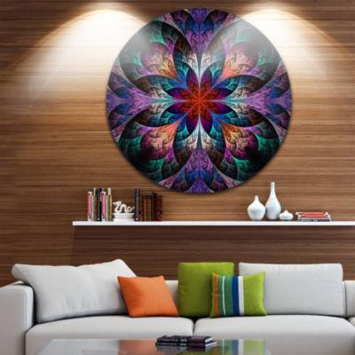 Designart Multi Color Fractal Flower Pattern Floral Metal Circle Wall Art
