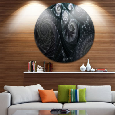 Designart Dark Spiral Fractal Flower Digital Art Floral Metal Circle Wall Art
