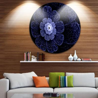 Designart Glittering Bright Blue Fractal Flower Floral Metal Circle Wall Art