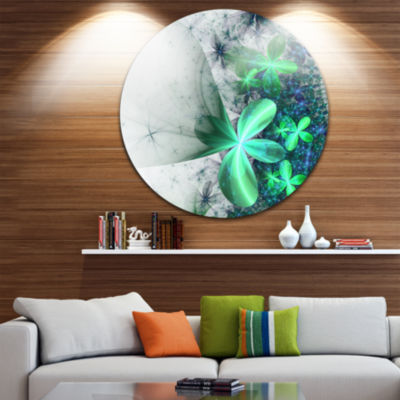 Designart Sparkling Green and Blue Fractal FlowerFloral Metal Circle Wall Art