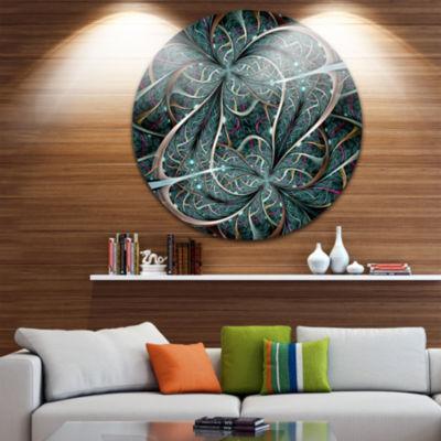 Designart Dark Green Purple Digital Art Fractal Flower Floral Metal Circle Wall Art