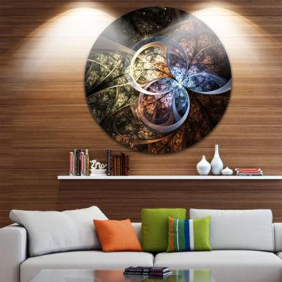 Designart Dark Brown Fractal Flower Digital Art Floral Metal Circle Wall Art